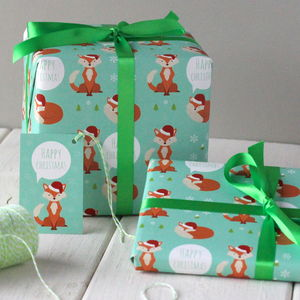 Christmas Fox Gift Wrap - christmas wrapping paper