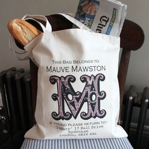Personalised Vintage Monogram Tote Bag - bags & purses