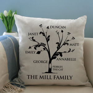 Personalised Family Tree Cushion - last-minute mother's day gifts
