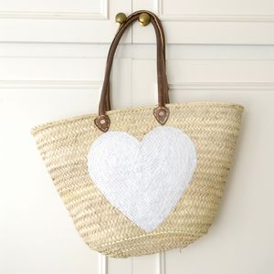 Large Sequin White Heart Beach Basket - beach bags
