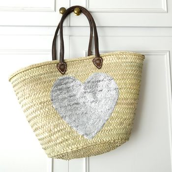 Large Silver Heart Sequin Beach Basket