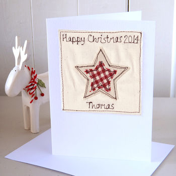 Personalised Embroidered Christmas Star Card