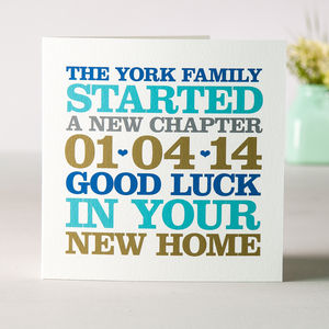 New Home Date Card