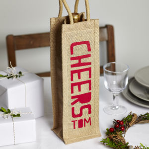 'Cheers' Christmas Jute Bottle Bag - cards & wrap