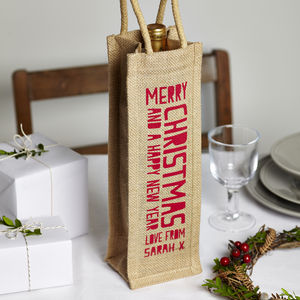 'Merry Christmas' Jute Bottle Bag - wrapping