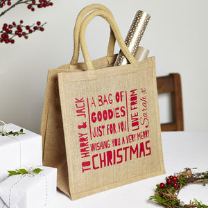 Personalised Christmas Jute Bag - cards & wrap