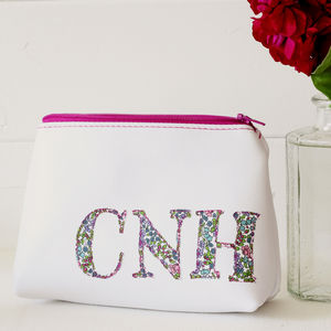 Personalised Leather Monogram Make Up Bag - make-up & wash bags