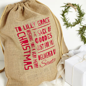 Personalised Christmas Jute Sack - stockings & sacks