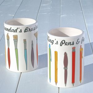 Personalised Pen Or Brush Pot - desk tidies