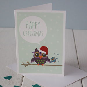 Festive Owl Christmas Card - cards
