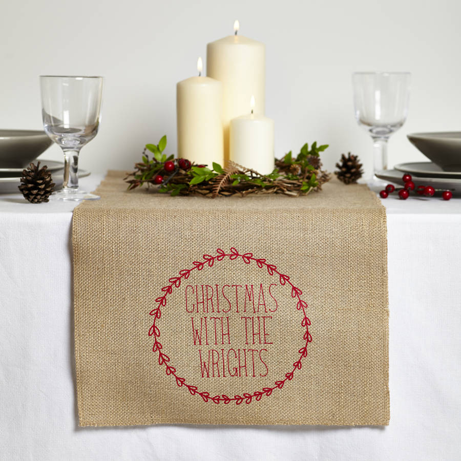 personalised christmas table runner by tillyanna. Black Bedroom Furniture Sets. Home Design Ideas