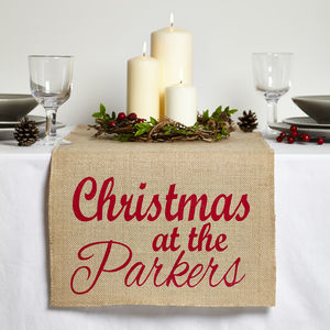 Personalised 'Christmas With' Jute Table Runner - table linen