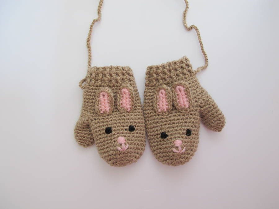 Hand Crochet Kids Bunny Mittens By Attic