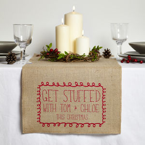 Personalised 'Get Stuffed' Table Runner