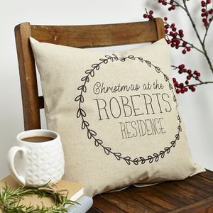 Personalised 'Christmas At' Residence Cushion - christmas home
