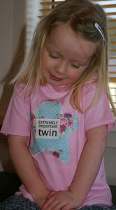 Girl's 'Extremely Important Twin' T Shirt