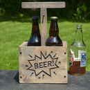 Engraved wooden beer crate