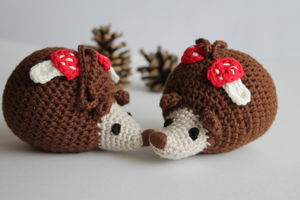 Hand Crochet Hedgehog Rattle Hanging - rattles