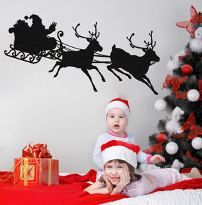 Santa's Sleigh And Reindeer Silhouette Wall Sticker - wall stickers