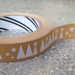 Eco Parcel Tape : Narrow Festive Trees - cards & wrap