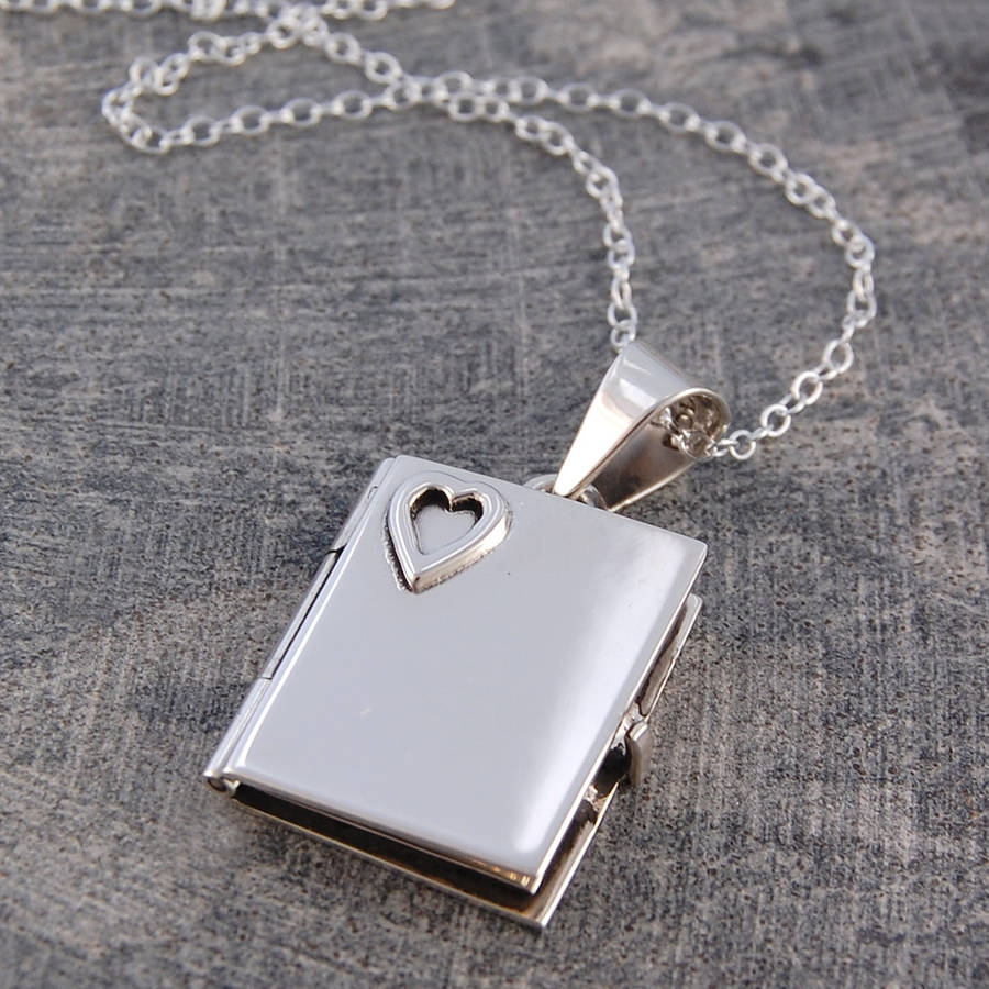 Engraved heart book locket necklace by otis jaxon silver jewellery engraved heart book locket necklace aloadofball Images