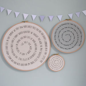 Personalised Spiral Words Hoop - textile art
