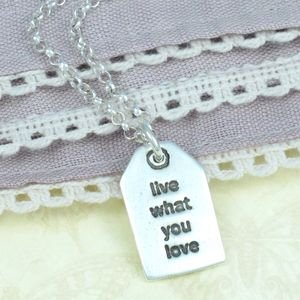 Personalised Mantra Silver Charm Label Necklace