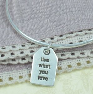Personalised Mantra Silver Charm Label Bangle