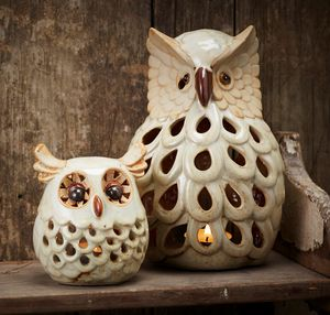 Ceramic Owl Tea Light Holder - candles & candlesticks