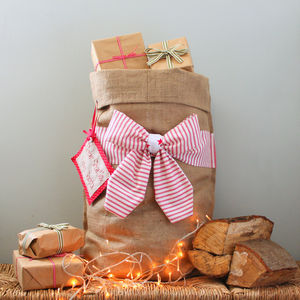 Personalised Christmas Sack With Bow - stockings & sacks