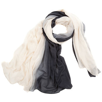 charcoal grey and cream Large Ombre Scarf
