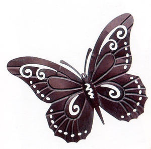 Vintage Bronzed Metal Butterfly Wall Sculpture - art & decorations