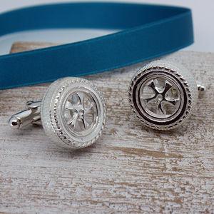 Car Wheel Cufflinks In Silver - men's accessories