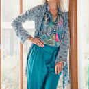 Blue Waterfall Drape Cardigan