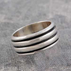 Men's Chunky Sterling Silver Spinning Ring - rings