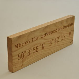 Engraved Where The Adventure Began Co Ordinates Sign