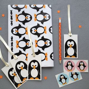 Penguin Wrapping Paper And Gift Wrap Set - christmas labels & tags