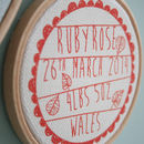 Small Birth hoop print red on sand