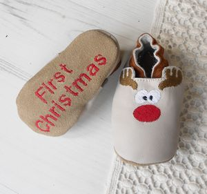 Personalised Rudolph Christmas Baby Shoes - baby's first christmas