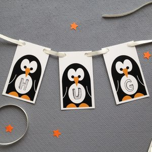 Message In An Igloo Personalised Penguin Bunting - garlands & bunting