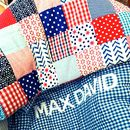 Personalised Patchwork Red Blue Quilt