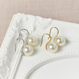 Gold And Silver Bridal Pearl Earrings - earrings