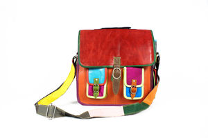 Recycled Leather Double Pocket Messenger Bag - bags & purses