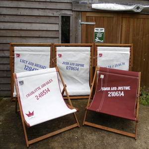 Personalised Recycled Sailcloth Double Deckchair - wedding gifts