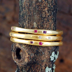 Gemstone Fine Gold Stacking Ring - Less Ordinary Jewellery