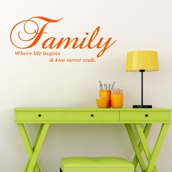 Family Vinyl Wall Sticker - Orange