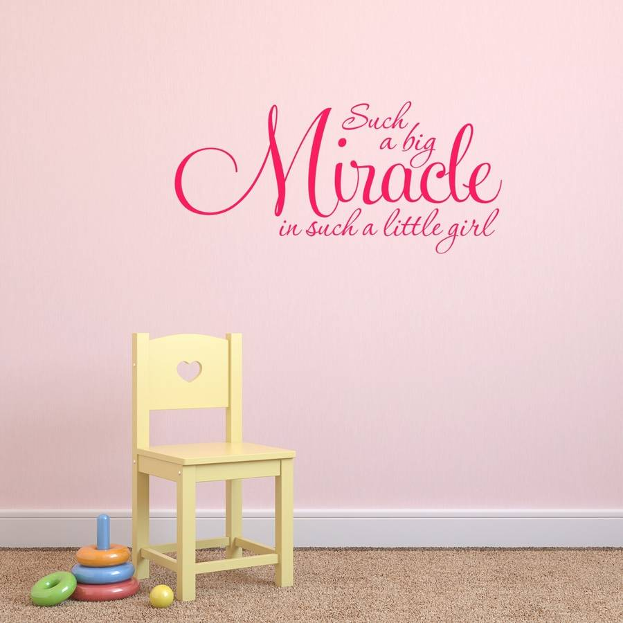 Girls nursery quote wall sticker by mirrorin notonthehighstreet girls nursery quote wall sticker hot pink amipublicfo Images