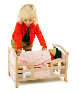 Wooden Two In One Dolls Bed