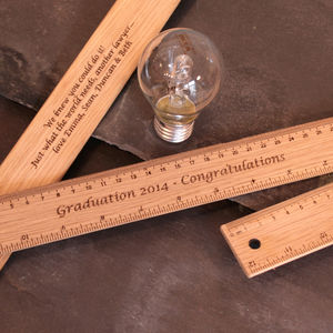 Personalised Graduation Day Gift Wooden Ruler - rulers, erasers & sharpeners