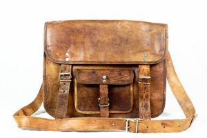 Brown Tan Leather Satchel Messenger Laptop Bag Unisex